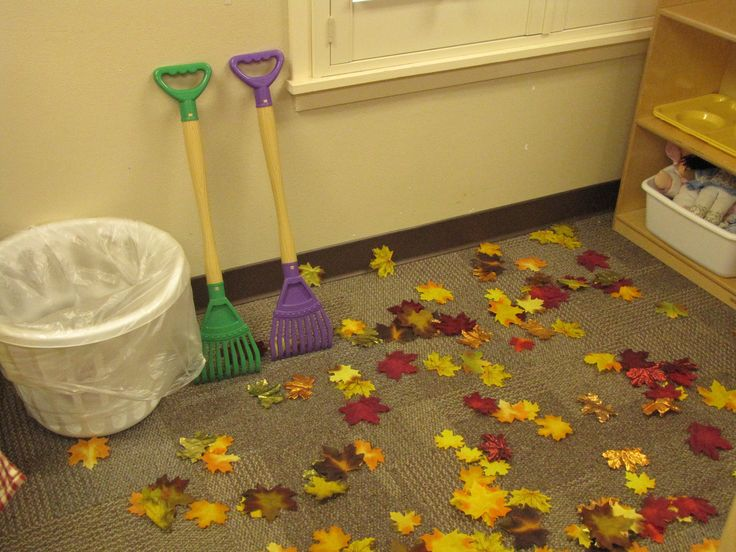 dramatic play - Fall leaf raking!