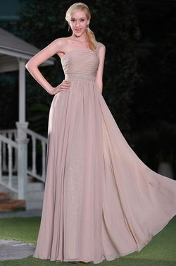 Simple Rosy Brown One Shoulder Evening Dress Bridesmaid Dress (00115146) - USD 126.73
