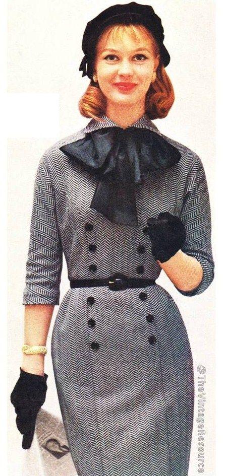 Bobbie Brooks 1957 vintage fashion style herringbone wool dress black white buttons belt bow color photo print ad 50s