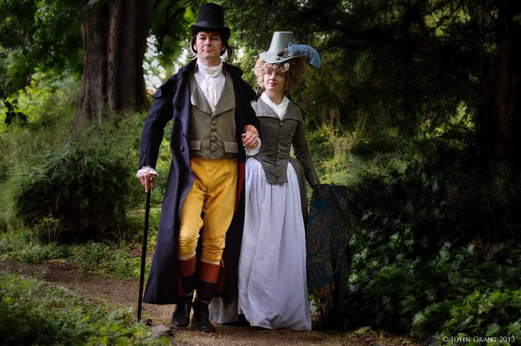 1790 couple - superfine wool coat, striped waistcoat, buckskin breeches ( made by farthingales); striped redingote, white cotton skirt,silk hat. by Prior Attire https://www.facebook.com/pages/Prior-Attire/140313531692?fref=ts