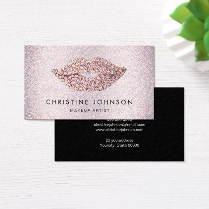 faux pink rhinestone and glitter makeup artist business card - makeup artist business customize diy