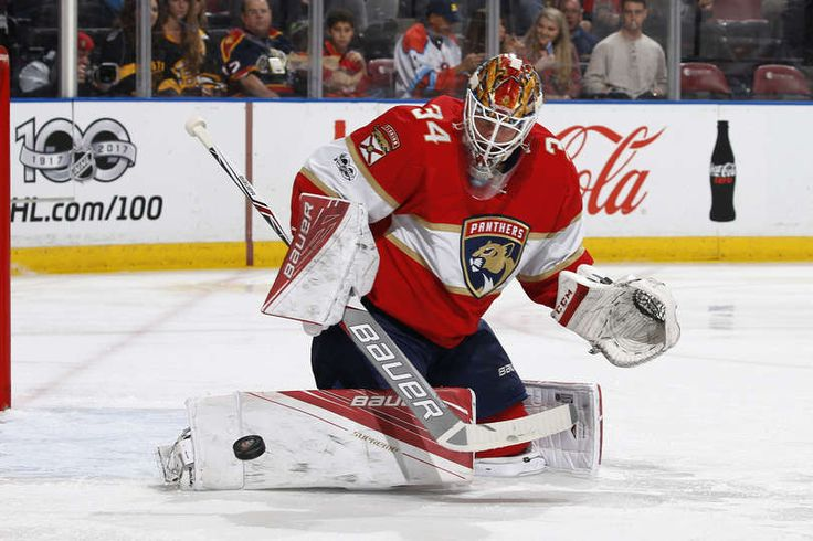 SUNRISE, FL - JANUARY 7: Goaltender James Reimer #34 of the Florida Panthers makes a pad save as he defends the net against the Boston Bruins during second period action at the BB&T Center on January 7, 2017 in Sunrise, Florida. (Photo by Joel Auerbach/Getty Images)