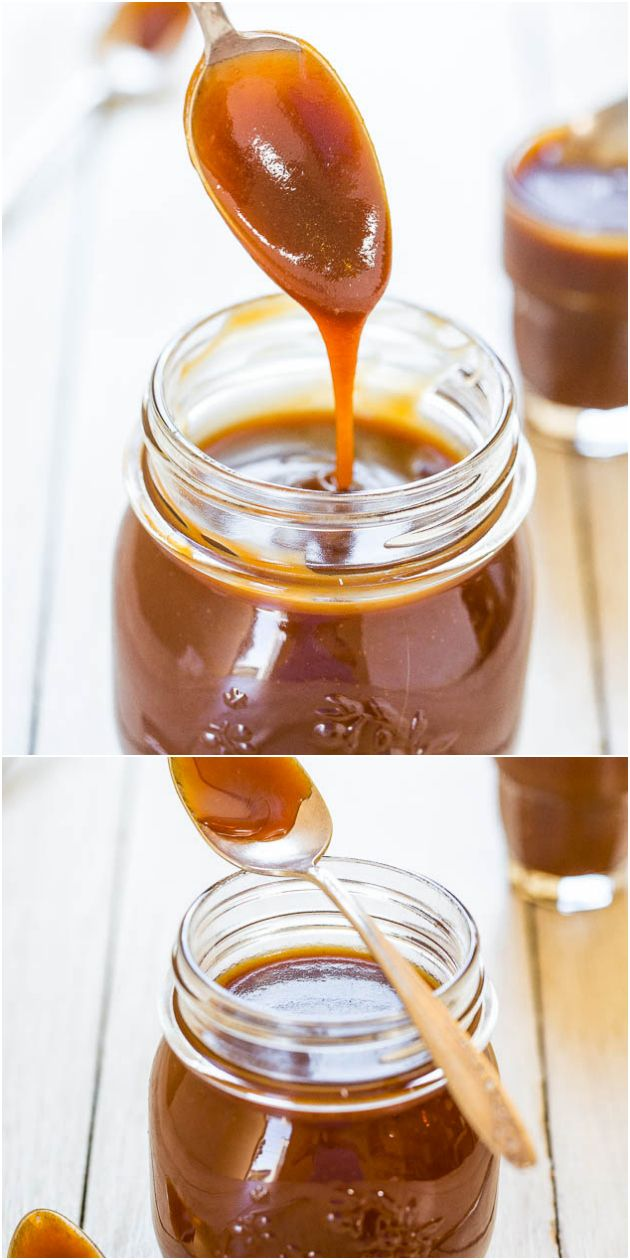 The Best  Easiest Homemade Salted Caramel Sauce - Ready in 15 minutes and tastes 1000x better than any storebought sauce ever could!