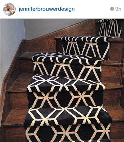 Black geometric stair carpet