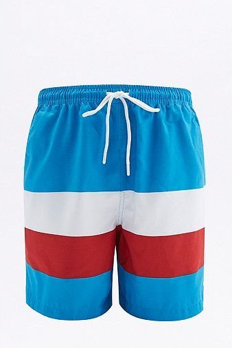 UO Swim Blue and Red Colourblock Swim Shorts - Urban Outfitters