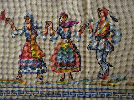 81 x 61 Linen Gorgeous Cross Stitch Embroidered Greek Traditional Costume Dancer Evzona Evzon Soldier Folkloric Folk Woven Ecru Tablecloth