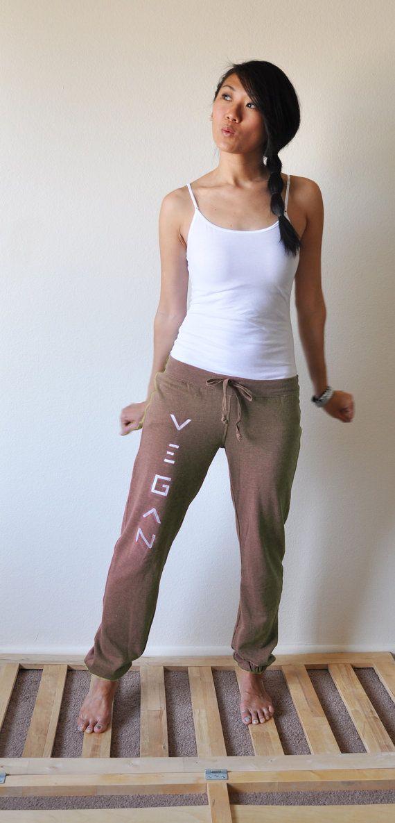 Vegan Clothing  Mocha Slim Sweat Pants Size M  by lamotif01, $23.95