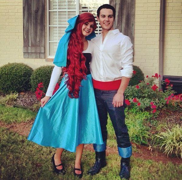 Ariel and Eric couple costume - so simple! (besides the wig) everything came from our closets! then we just added a few touches with fabric (bow/belt)