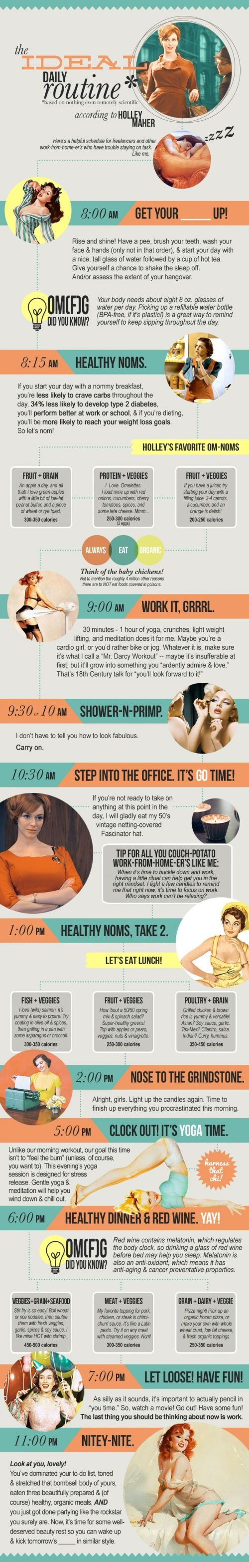 The Ideal Daily Routine infograph mad men joan holloway