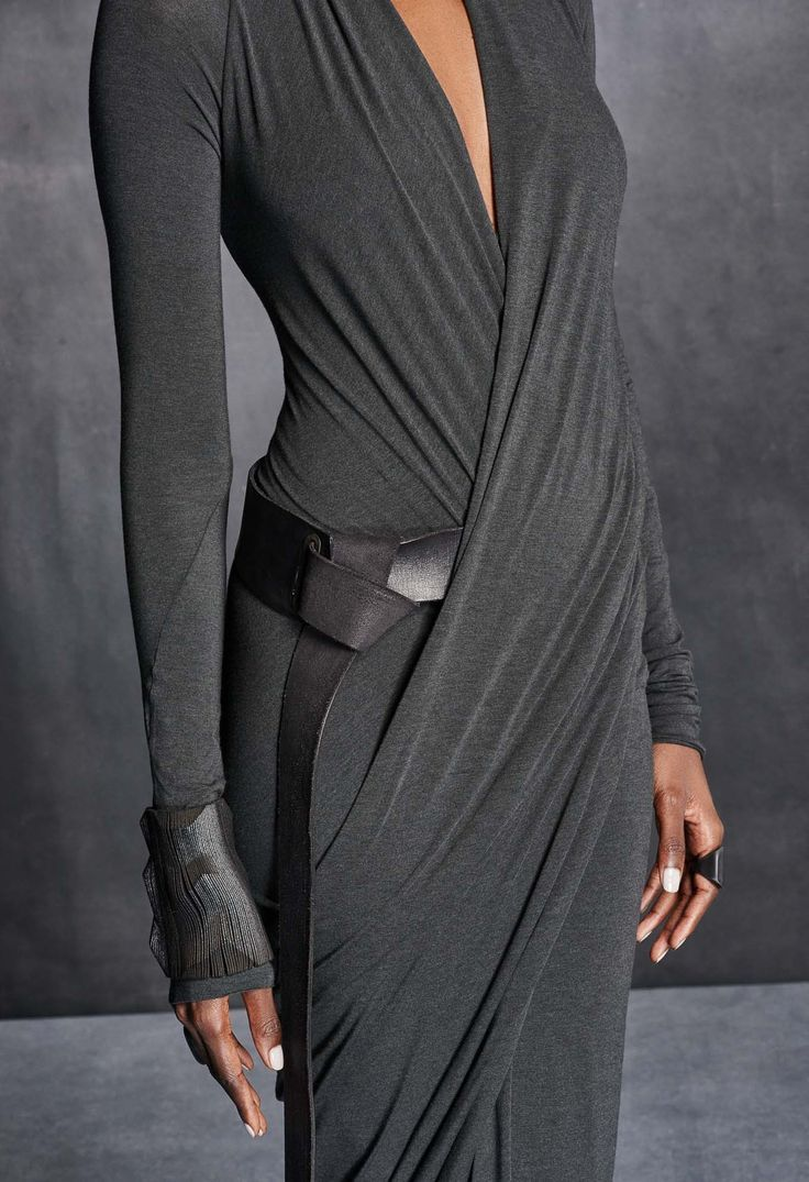 Long-sleeve fitted wrap dress with a draped V-neck and built-in tube in stretch ... 9
