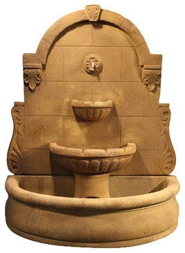 Bavarian Wall Fountain with Basin, Cedar Rust traditional-outdoor-fountains-and-ponds