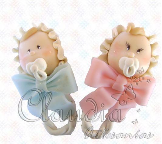 souvenir porcelana fria para bautizo o baby shower