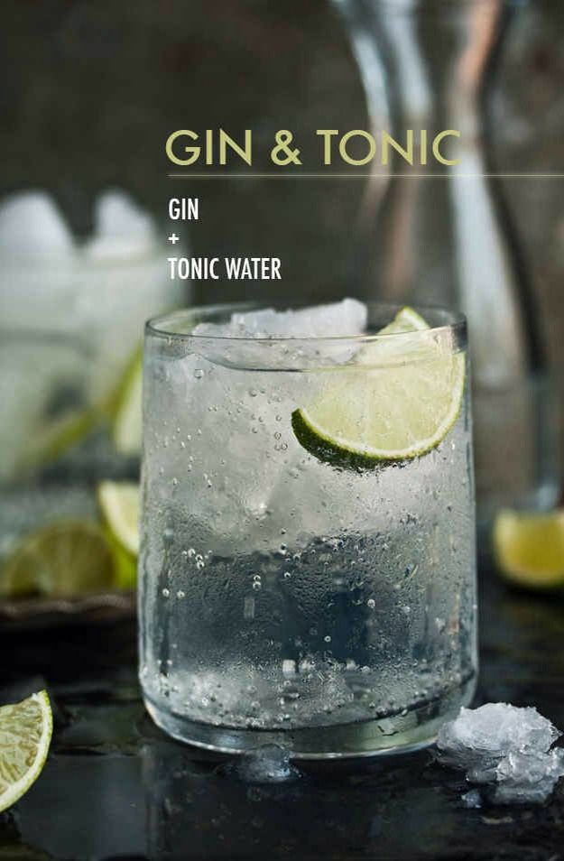 Top one or two shots gin with tonic water and garnish with a lime wedge.