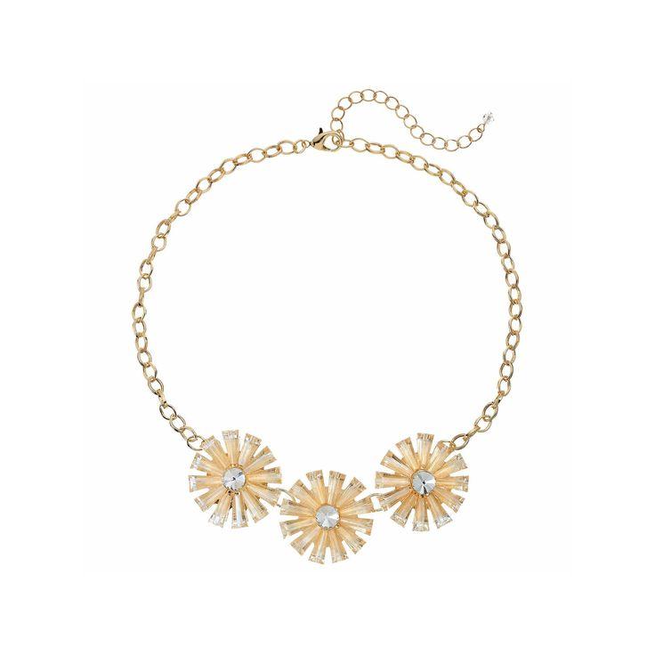 Triple Flower Statement Necklace, Women's, Med Beige