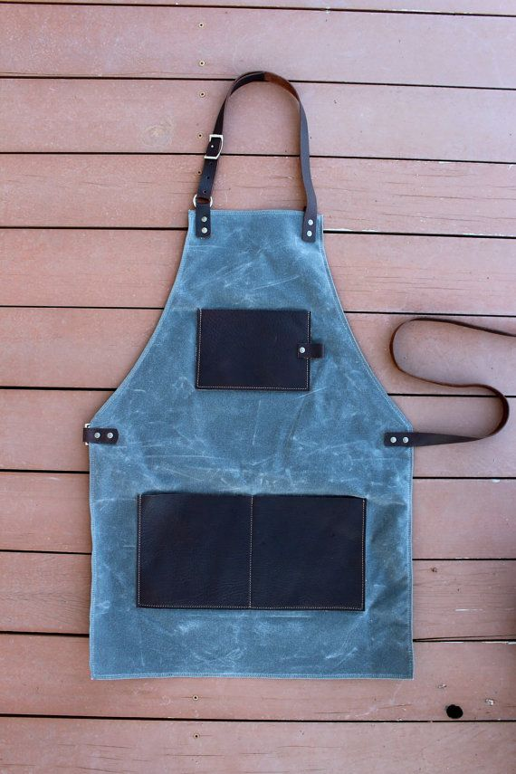 Waxed Canvas and Leather Apron by OsengaLeatherWorks on Etsy
