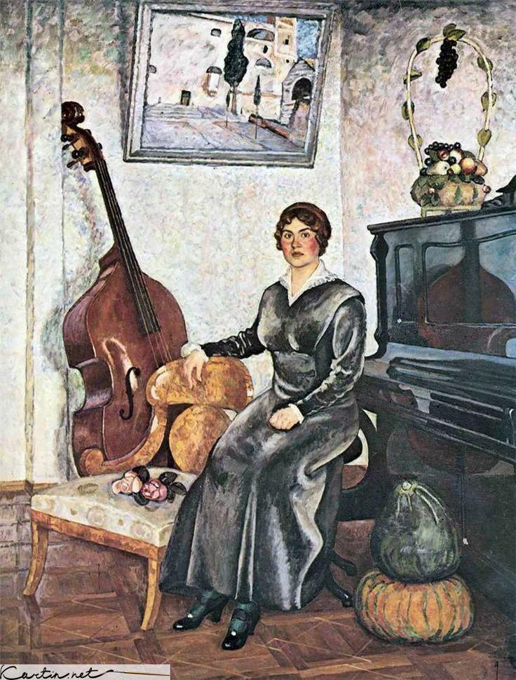 Картина — Дама с контрабасом — Машков Илья Иванович | Ilya Ivanovich Mashkov