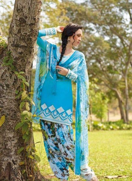Sky Blue Patiala Salwar Kameez for Casual Wear .  Buy at - http://www.gravity-fashion.com/sky-blue-patiala-salwar-kameez-for-casual-wear.html