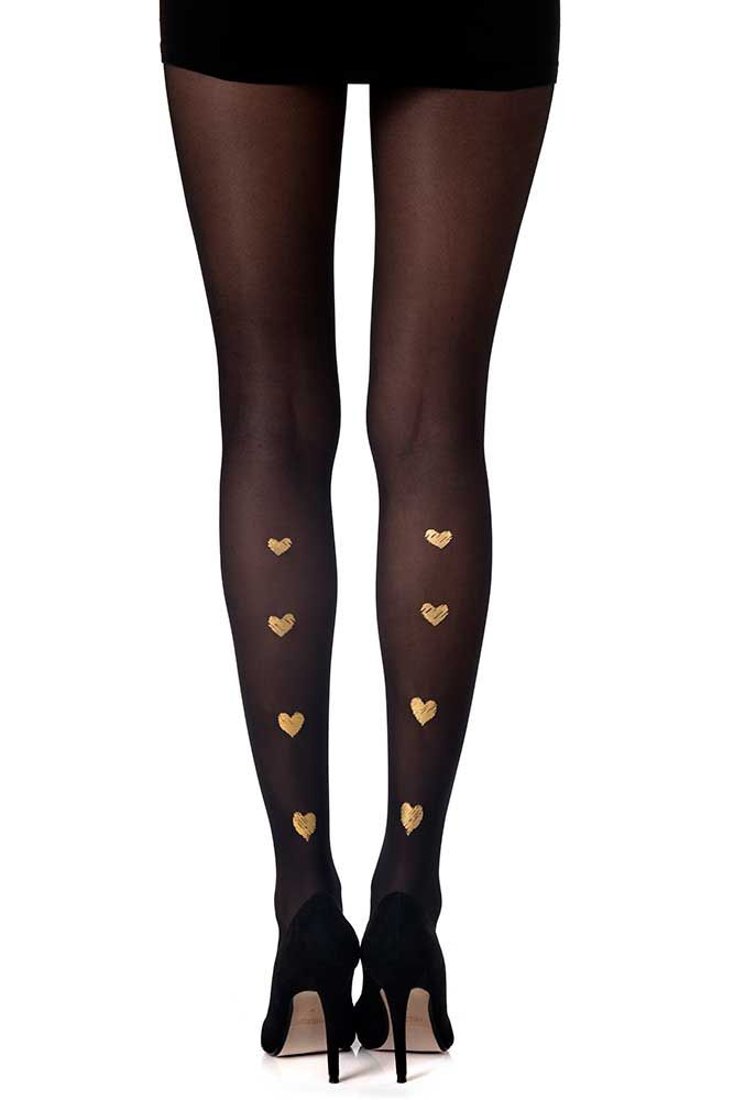 New Sexy Womens Black Red Pantyhose Heart Valentine Tights