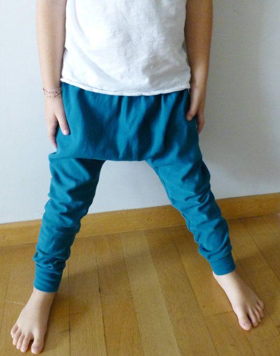 Toddler harem baggy pants - sweatshirt pants loose fit with applique - unisex toddler pants