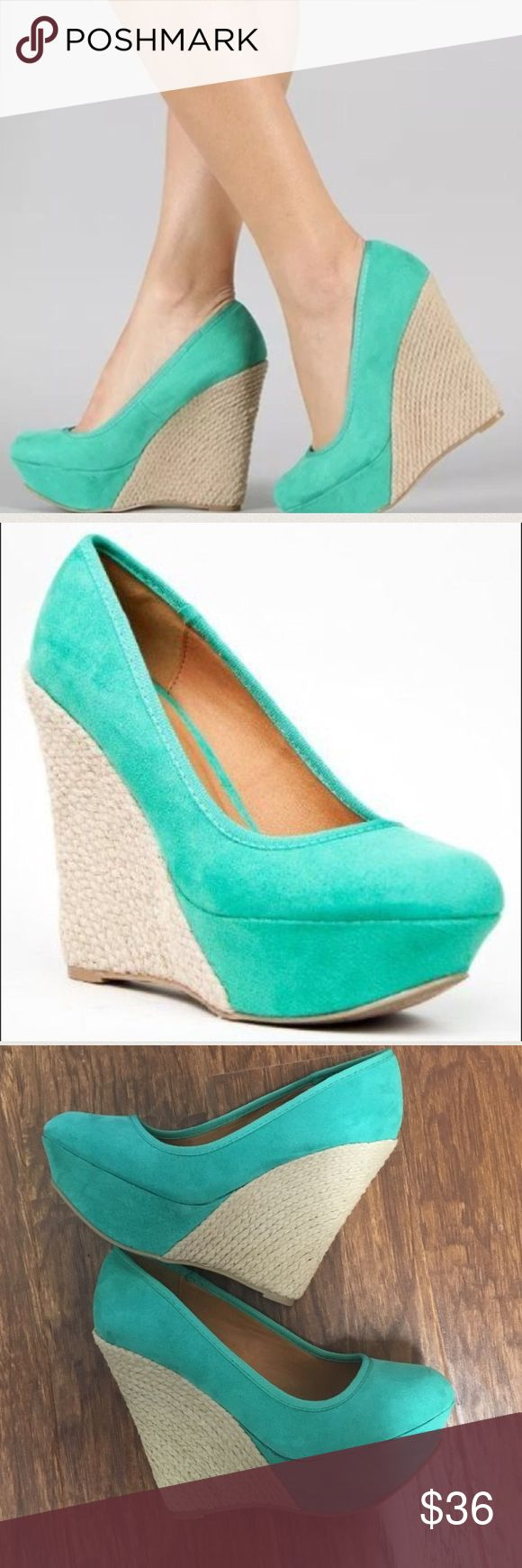 "Qupid mint green espadrilles wedges size 5.5 Keep it casual in these sweet wedges. Features smooth faux suede upper, round toe front, stitching accents, braided espadrille platform and wedge heel. Slide style and finished with padded insole. ~Material: Faux Suede (man-made) ~Sole: Synthetic  heel height: 5"" w/ 1.5"" platform (approx) fitting tips: foot model is a true size 6, foot measures 8.9"" from heel to toe, width measures 2.5"". model's review: true to size. Original box may not be…"