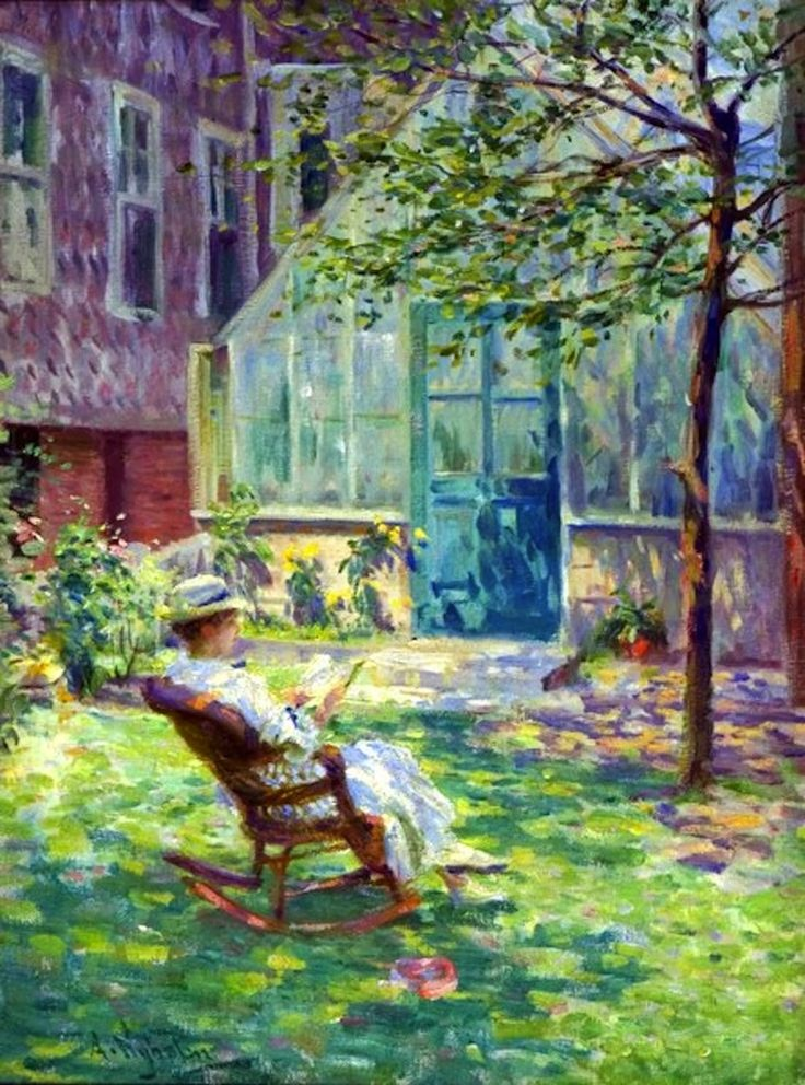 Reading By the Greenhouse. Arvid F. Nyholm (Swedish/American, Impressionism, 1866-1927). In Chicago, Nyholm began painting portraits within the local Swedish-American community, but he quickly gained a wider reputation for his portraits and for figural works, for which family members posed; he also painted landscapes. In 1907, he traveled to Paris for further study at the Académie Colarossi and visited his former teacher Zorn in Sweden.