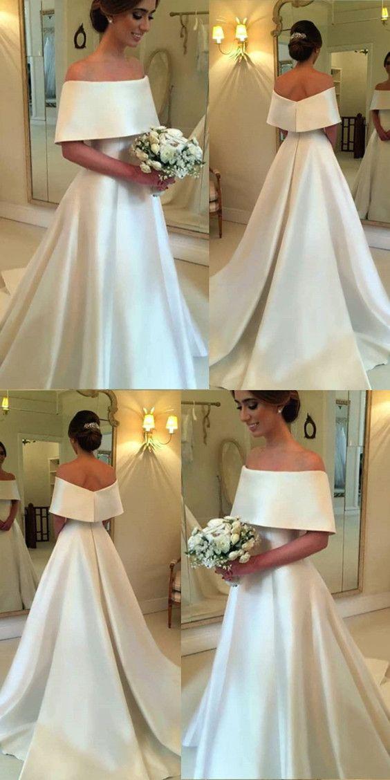 A-line off the Shoulder Satin Brautkleider für die Braut 2019