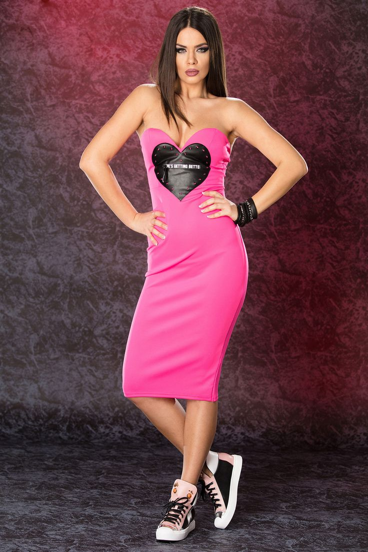 Ocassion Sympathy Pink Dress, sleeveless, form-fitting, faux leather details, slightly elastic fabric