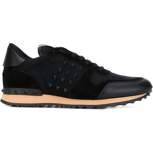 Valentino Rockstud sneakers ($665) ❤ liked on Polyvore featuring men's fashion, men's shoes, men's sneakers, black, mens black shoes, valentino mens sneakers, valentino mens shoes and mens black sneakers