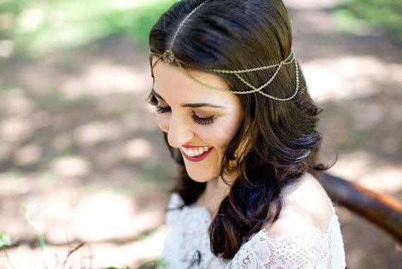 Libby Braided Circle Bronze Wedding Head by CHROMIAandCRYSTAL