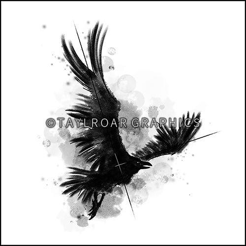 Sketchy raven custom tattoo design. www.taylroargraphics.com