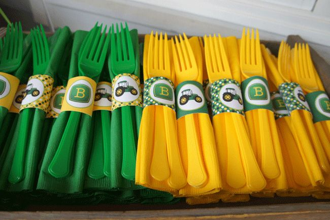 John Deere napkin rings and utensils- but could monogram with wedding colours for a wedding, baby shower etc.