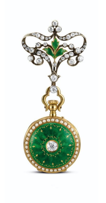 A YELLOW GOLD, ENAMEL AND DIAMOND-SET OPEN-FACED KEYLESS FOB WATCH  - CIRCA 1905.