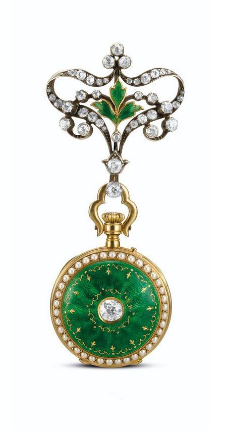 A YELLOW GOLD, ENAMEL AND DIAMOND-SET OPEN-FACED KEYLESS FOB WATCH  - CIRCA 1905.