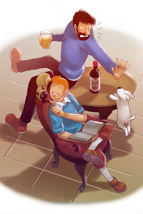 Tintin: An Usual Day in Marlinspike by MaGeHiKaRi.deviantart.com on @deviantART