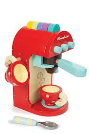 Winner of the 2014 preschool award. This delightful little wooden coffee machine from Le Toy Van comes complete with cups, spoon, even coffee pods. AGE: 3+  #toys2learn#letoyvan#honeybake#coffee #machine#kitchen#cook#cooking#toys#toy #pretendplay#play#children#child#kids