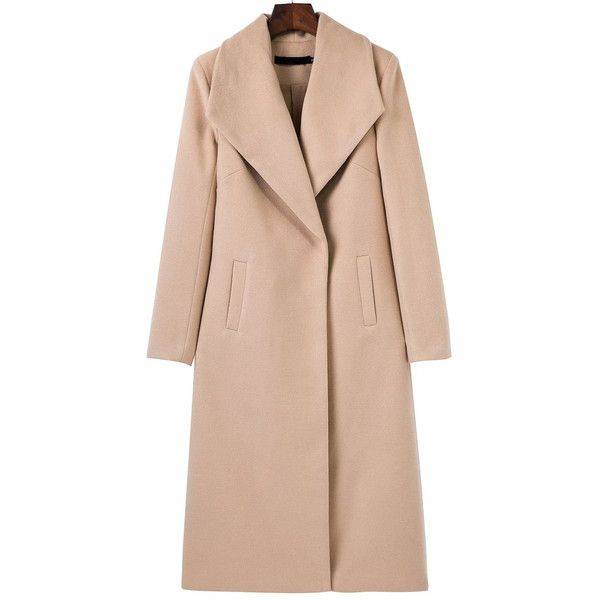 SheIn(sheinside) Light Khaki Shawl Collar Longline Coat ($41) ❤ liked on Polyvore featuring outerwear, coats, shein, khaki, pink coat, long khaki coat, khaki coat, longline coat and long sleeve coat