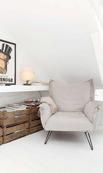 Object / Chair / bedroom corner / grey fabric armchair / frame
