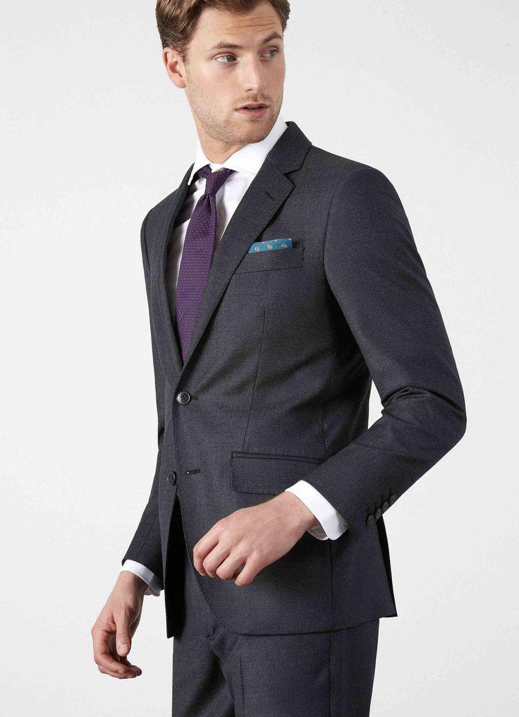 Mayfair Slim Fit Birdseye Suit  - Suits & Suit Separates - Clothing - Men   Hackett