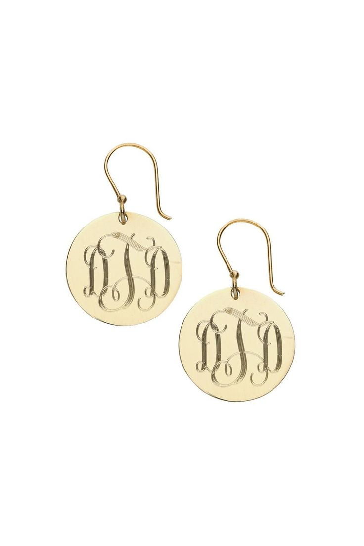Monogrammed Gold Plated French Wire Earrings.Please allow at least one (1) week for your order to be completed. Please email stylist@shoptiques.com with monogram request (monogram must be in this format: your first initial LAST INITIAL middle initial). All monogram items are final sale.  Disc: 2.5 cm   Gold Monogram Earrings by Pear Tree Paper and Gifts. Accessories - Jewelry - Personalized Dover New Hampshire