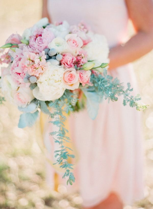 pink and aqua wedding bouquet