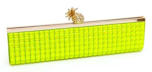 "Kate Spade ""Lemondrop"" neon green clutch with pineapple clasp: Spade Lemondrop, Pineapple Clasp, Neon Green, Neon Nation, Kate Spade"