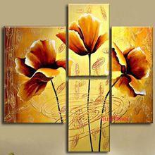 hot nuovo dipinto a mano moderno fiori dorati foto su tela pittura a olio senza cornice per il living room decor wall art dipinti(China (Mainland))