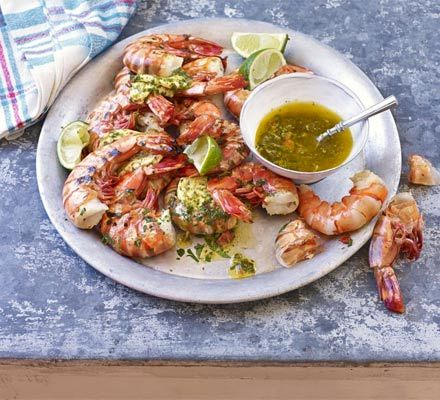 Barbecued prawns with chilli, lime & coriander butter #designsponge #dssummerparty