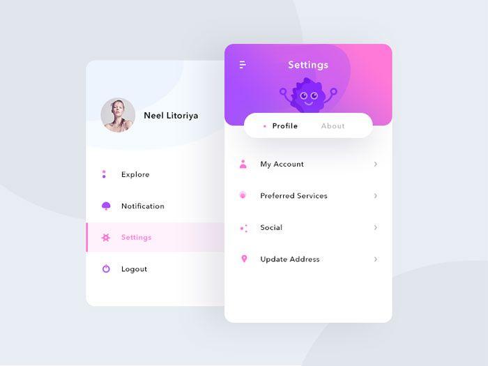 13.settings_sidemenu Mobile Menu Design: User Interface Examples (33 App Menus)