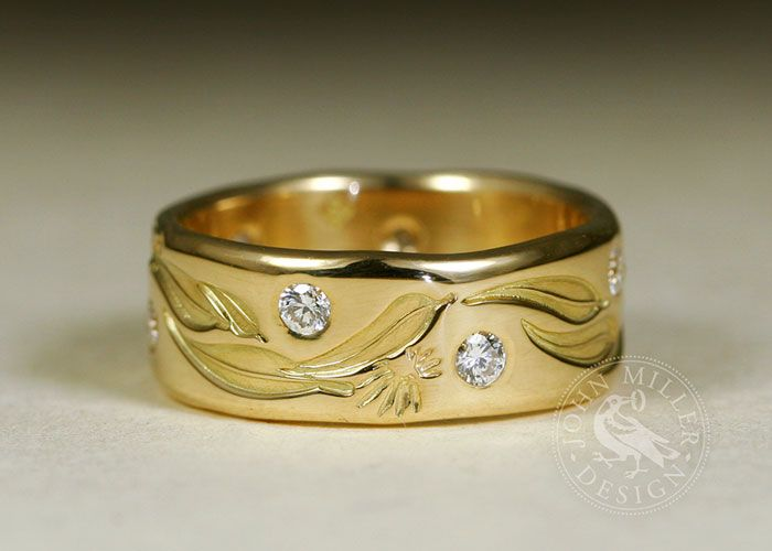 Gorgeous gold and Australian gum-leaf ring with two diamonds handcrafted by John Miller Design in Yallingup