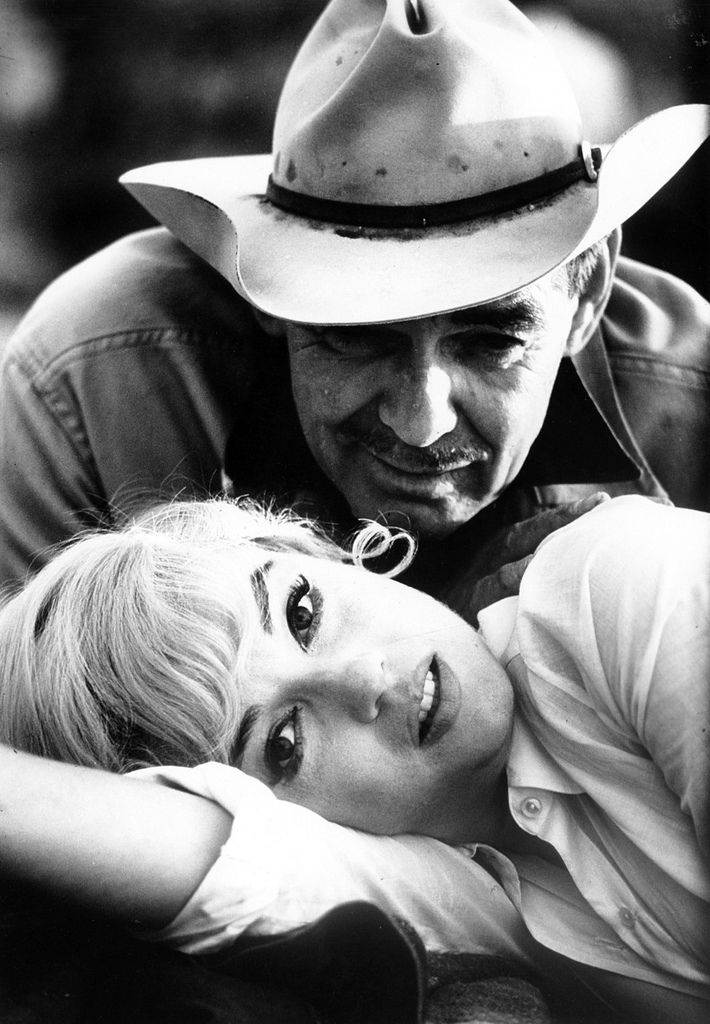 "Marilyn with Clark Gable in "" The Misfits."""