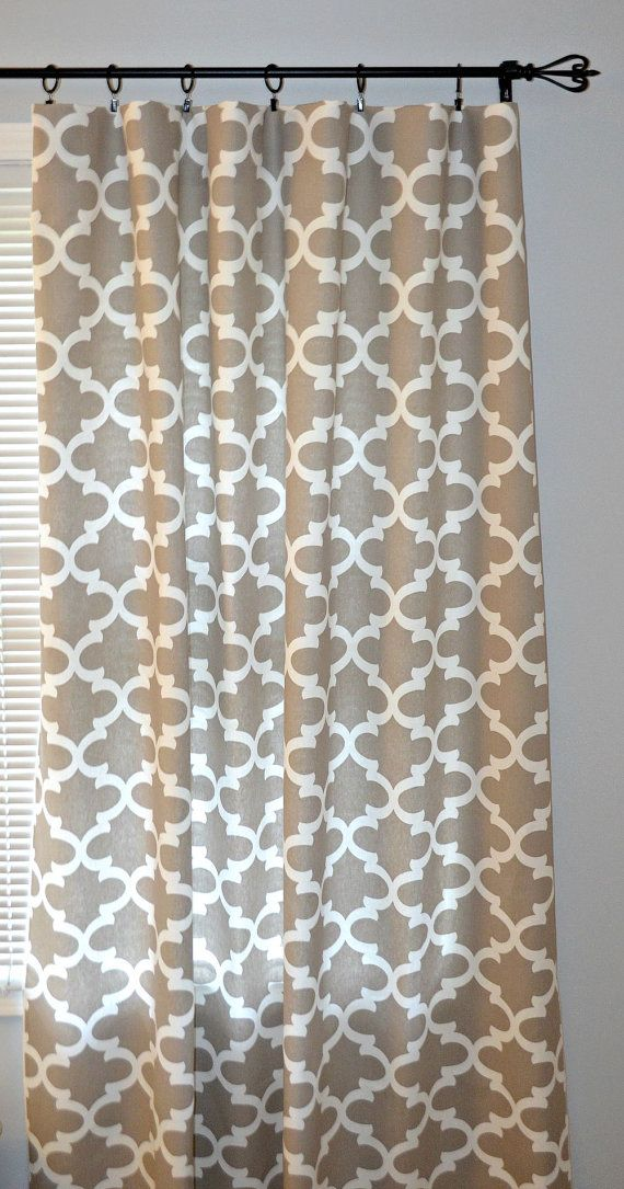 Curtain Panels - Pair of Rod Pocket Panels, Premier Prints Ecru Fynn, Taupe Tan Quatrefoil Lattice, Moroccan, Choose Size