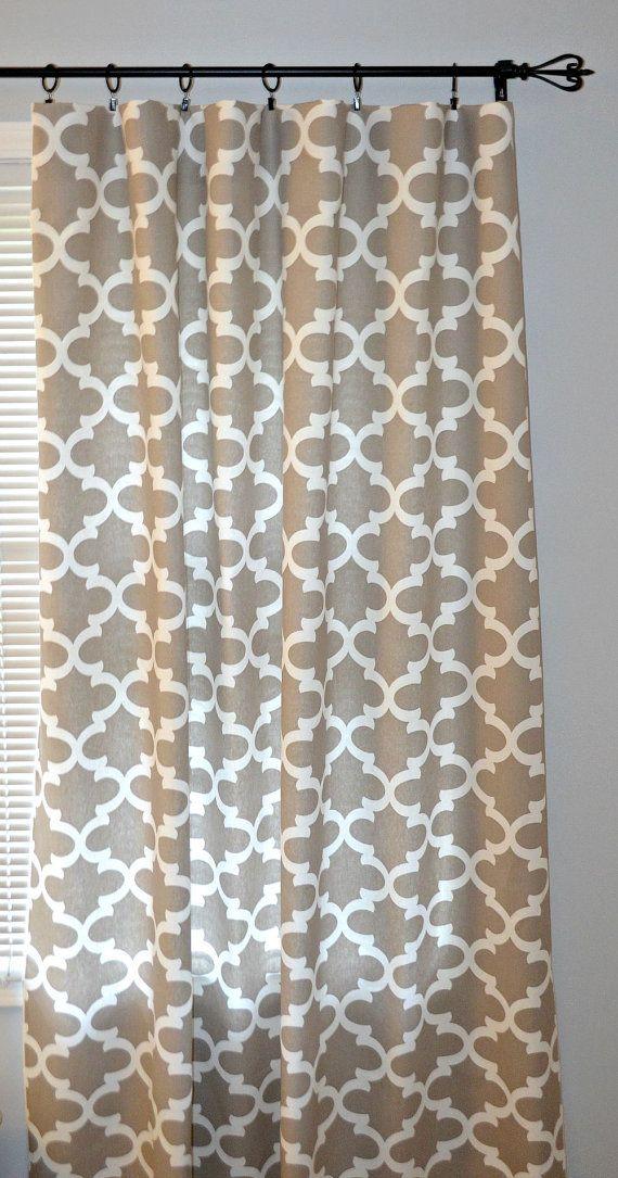Curtain Panels - Pair of Rod Pocket Panels, Premier Prints Ecru Fynn, Taupe Tan Quatrefoil Lattice, Moroccan, Choose Size