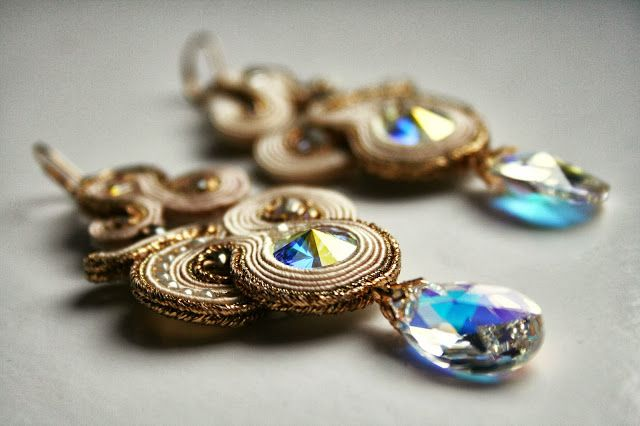 soutache gold and crystal earrings / bridal exquisite jewelry