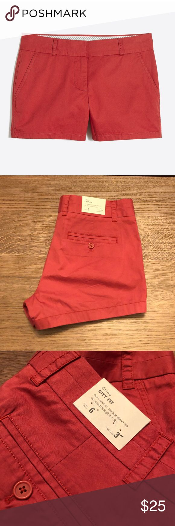"J. Crew chino shorts Red broken in chinos  Brand new with tags  City fit  Measurements are approximate and taken laid flat  Inseam 3"" Rise 9"" Waist 17"" Leg opening 12"" Bin9 J. Crew Shorts"